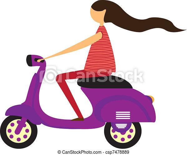 girl over motorbike - csp7478889