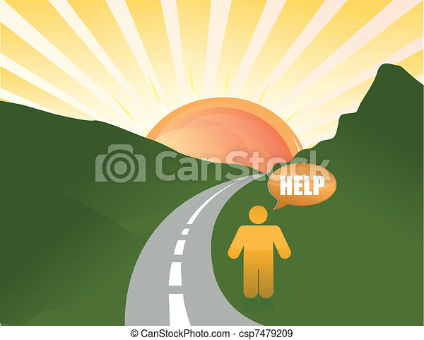 man lost in the road illustration - csp7479209