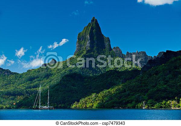 Tropical bay off Moorea Tahiti - csp7479343