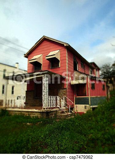Old Pink House in Tilt Shift - csp7479362