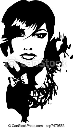 young lady illustration - csp7479553