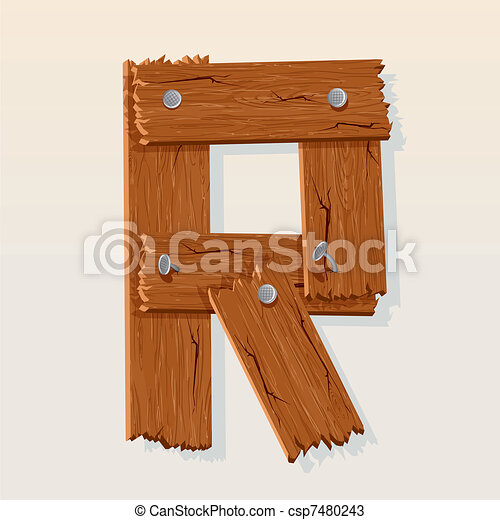 Letter R From vector Wooden Alphabet - csp7480243