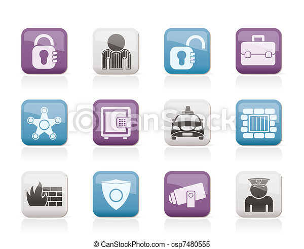 social security and police icons - csp7480555