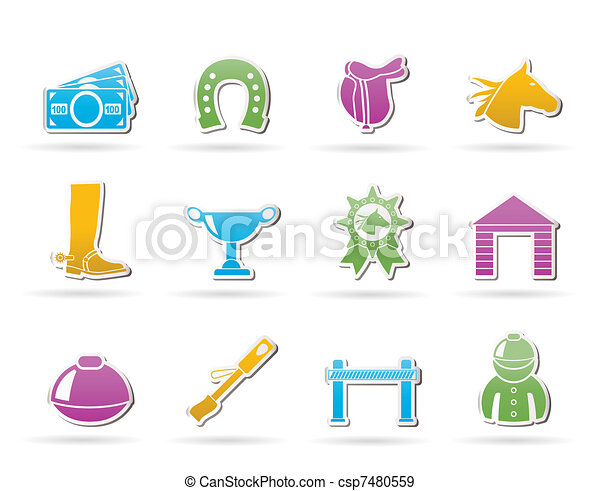 Horse Racing and gambling Icons  - csp7480559
