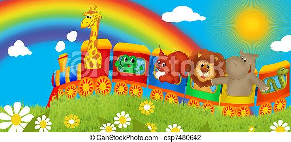 Train with animals - csp7480642