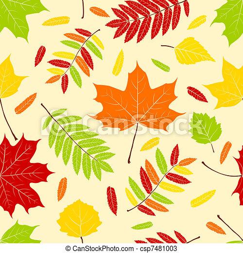 Vecteurs de automne feuilles automne couleur feuilles seamless csp7481003 recherchez - Feuille automne dessin ...
