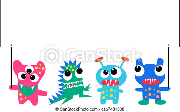 monsters with a placard - csp7481308