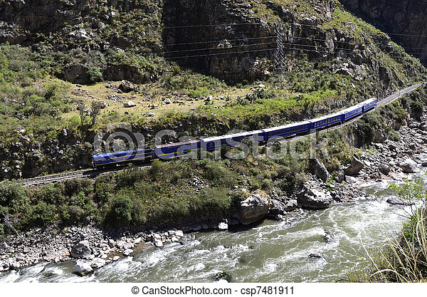 Train to Machu Picchu with Urubamba river - csp7481911