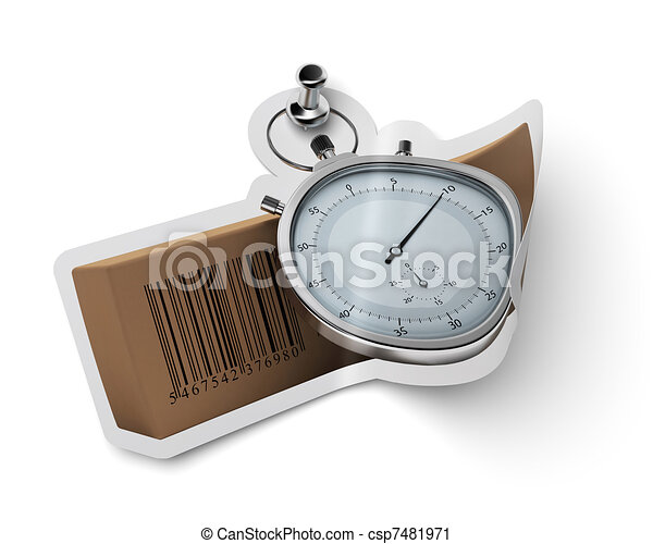 sticker with carton box  and stopwatch fixed onto a white wall with a thumbtack - csp7481971