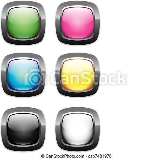 web buttons round rectangle glossy - csp7481978