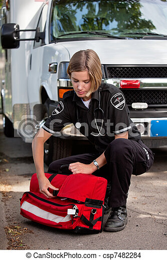 EMS Professional with Portable Oxygen Unit - csp7482284
