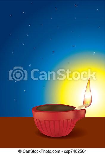 Diwali Diya Vector Illustration - csp7482564