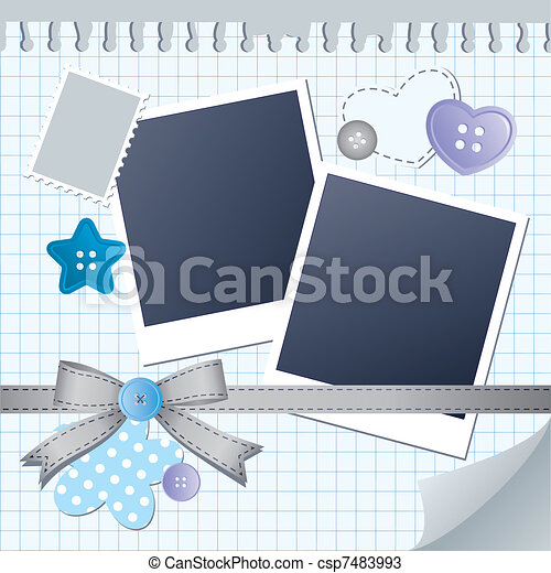 blue frame for photos - csp7483993