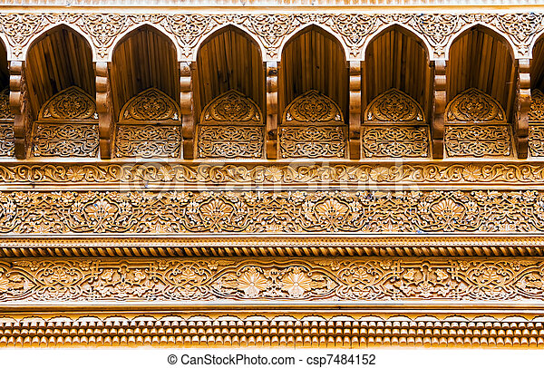 Carved wooden ceiling of an asian summerhouse - csp7484152