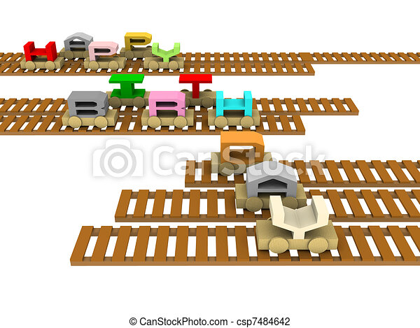 happy birthday train on rails - csp7484642