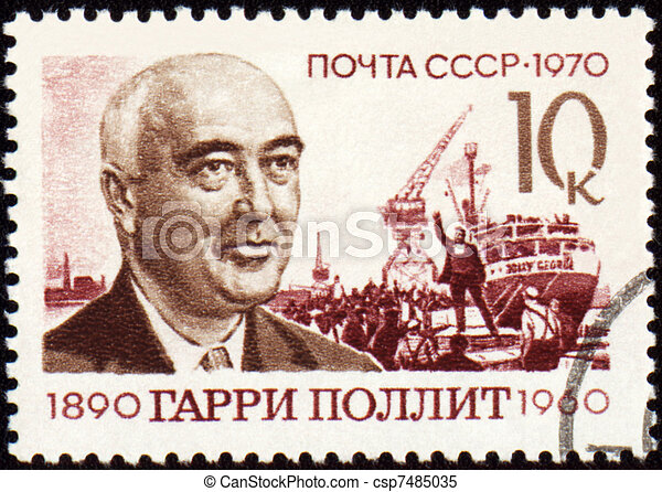 Portrait of Harry Pollitt on postage stamp - csp7485035