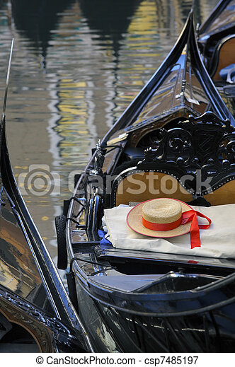 Gondolier's straw hat in boat, Venice  - csp7485197