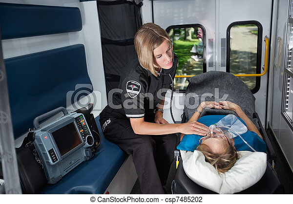 Senior Emergency Care in Ambulance - csp7485202
