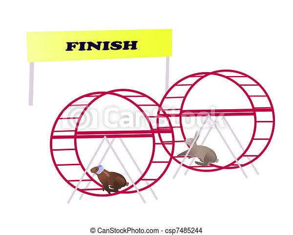 Racing rabbits reaching finish line - csp7485244