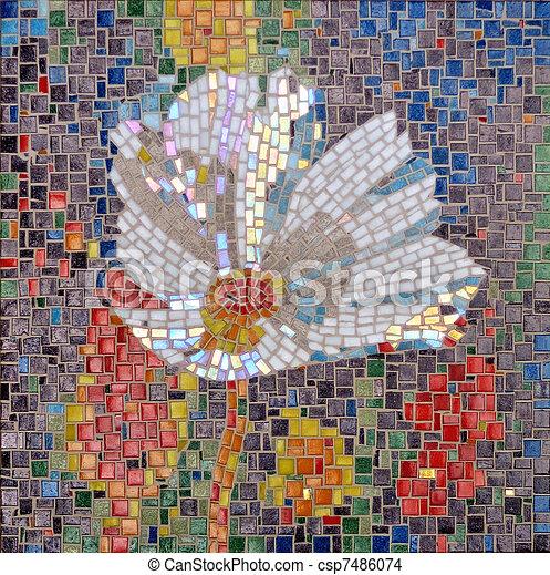 Photo de mosa que verre mosa que fleur csp7486074 for Mosaique de verre autocollante