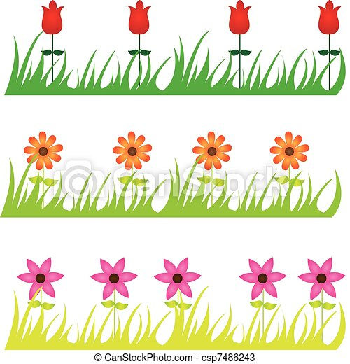 Flowers in Grass Drawing Vector Flowers And Grass