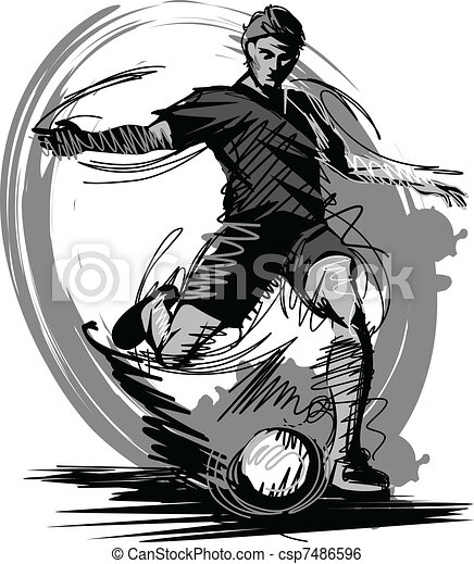 Soccer Player Kicking Ball Vector I - csp7486596