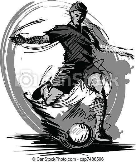 Soccer Player Kicking Ball Vector I - csp7486596