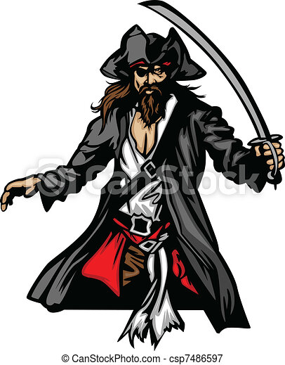 Pirate Mascot Standing with Sword a - csp7486597
