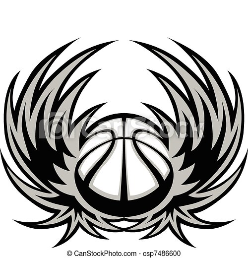 Basketball Template with Wings - csp7486600