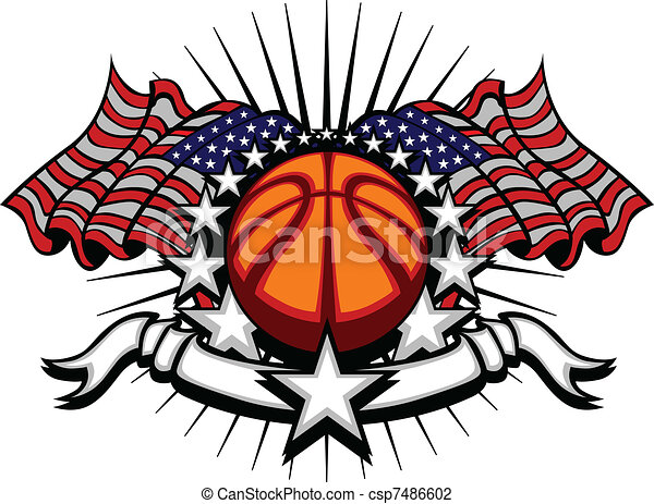 Basketball Vector Template with Fla - csp7486602