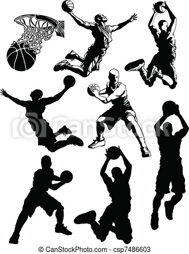 Basketball Silhouettes of Men - csp7486603