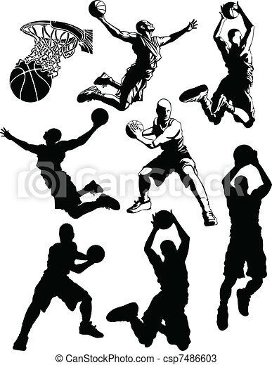 Basketball Silhouettes of Men  - csp7486603