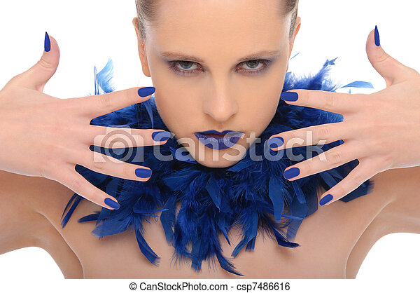 woman with blue fingernails and blue feathers - csp7486616