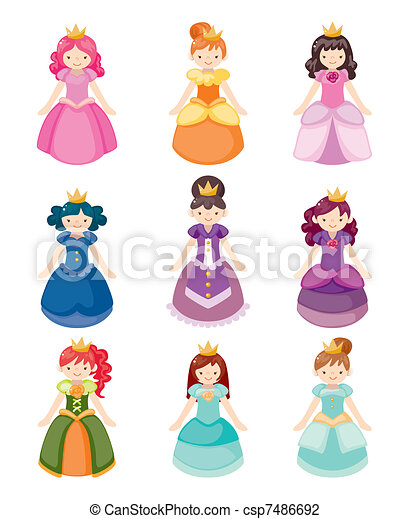 cartoon beautiful princess icons set - csp7486692