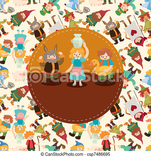 seamless cartoon story people pattern - csp7486695