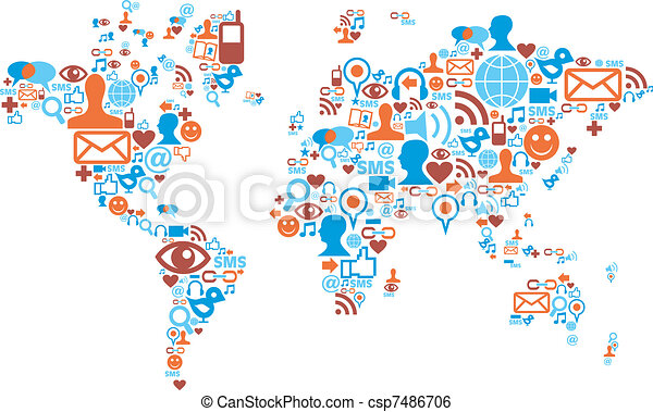 World map shape made with social media icons - csp7486706