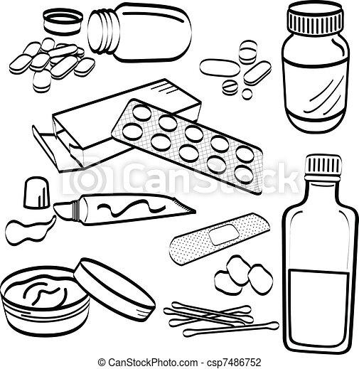 Medical Medicine Tablet Pill Doodle - csp7486752