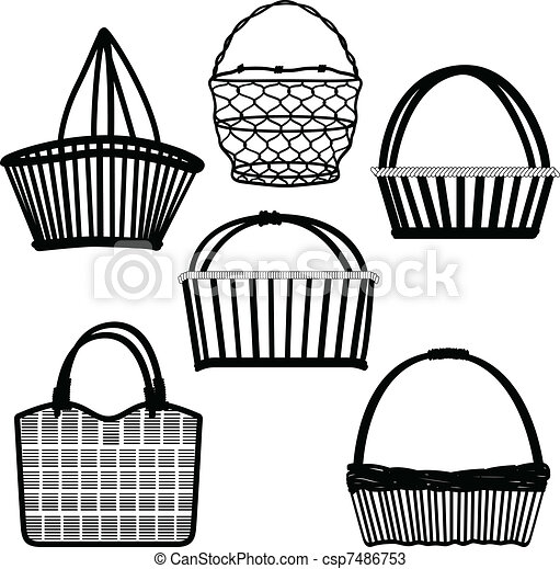 Basket Bag Container Wired Wooden - csp7486753