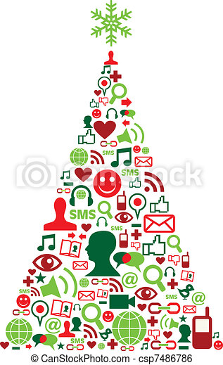 Christmas tree with social media icons - csp7486786
