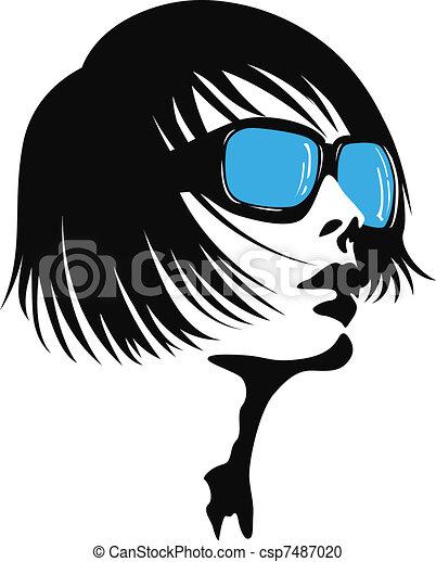 有关年轻, 女士, 太阳镜csp7487020的矢量剪贴画-搜索