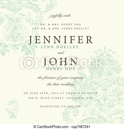 Vector Distressed Damask Pattern for Invitations - csp7487241