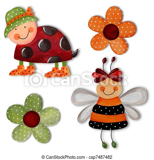 Ladybug, bee and flowers. Artwork - csp7487482