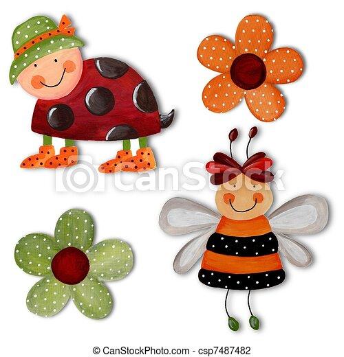 Ladybug, bee and flowers. Artwork - csp7487482