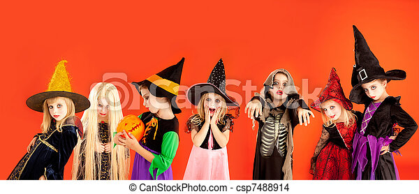 Halloween group of children girls costumes - csp7488914
