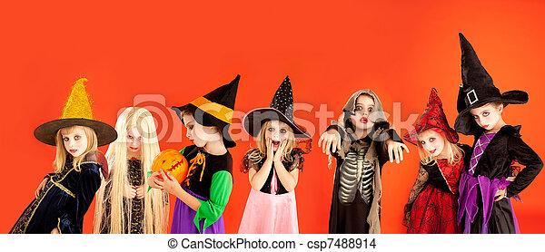 Halloween group of children girls costumes - csp7488914
