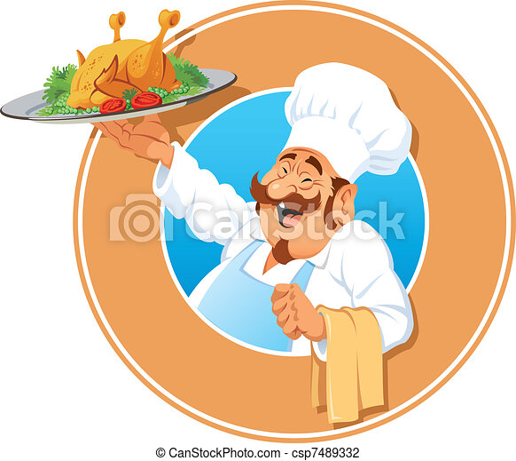 The jolly Cook with a roasted chicken - csp7489332