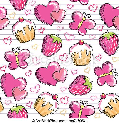 pink seamless pattern - csp7489681