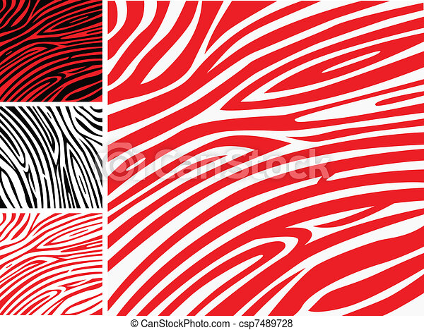Red and white zebra skin - animal print or pattern collection  - csp7489728