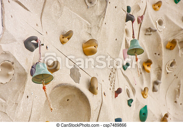 Stock Image of Bells at Top of Rock Climbing Wall - Bells at top ...
