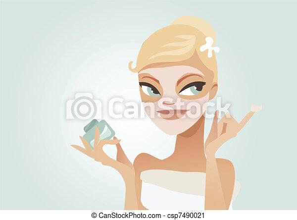 Applying facial mask - csp7490021